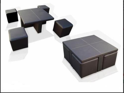 mesa centro sala lounge 4 taburetes minimalista
