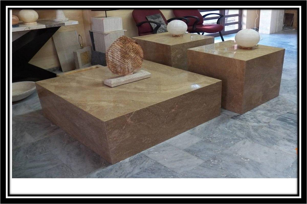 Mesa centro y laterales en marmol florito chocolate for Mesa centro marmol