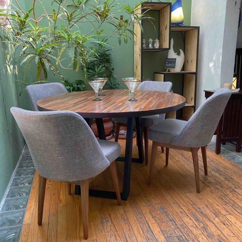 mesa circular de madera nogal y base de hierro