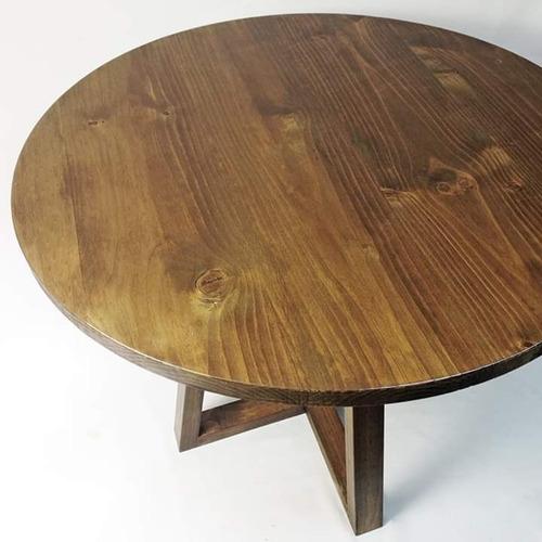 mesa circular madera sólida