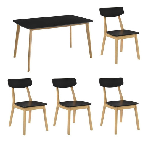 mesa claire 120cm rectangular + 4 sillas new claire madera