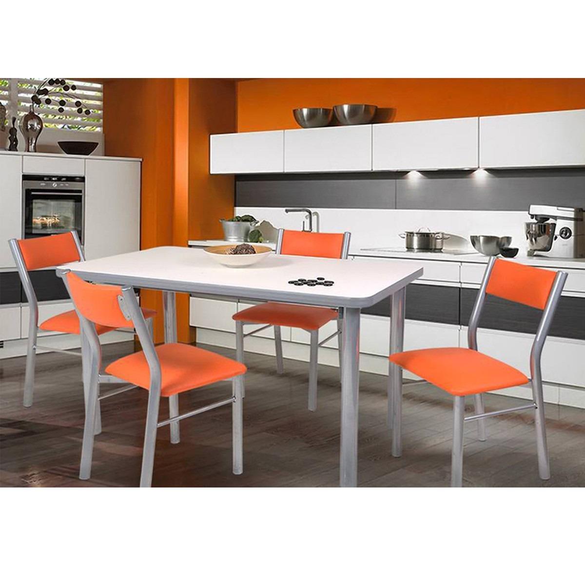 Mesa Cocina 1.40x0.80 + 4 Sillas Tapa Wengue Y Blanco - $ 4.500,00 ...