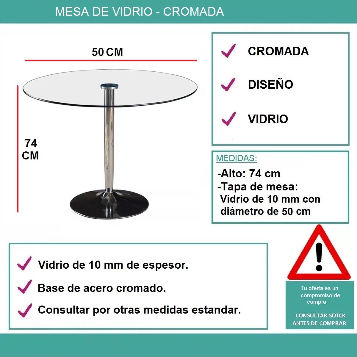 Mesa Cromada De Vidrio P/ Cocina Comedor Diámetro De 50 Cm