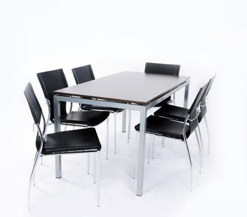 Mesa Cocina Comedor Madera Base Metalica Diseño Moderno