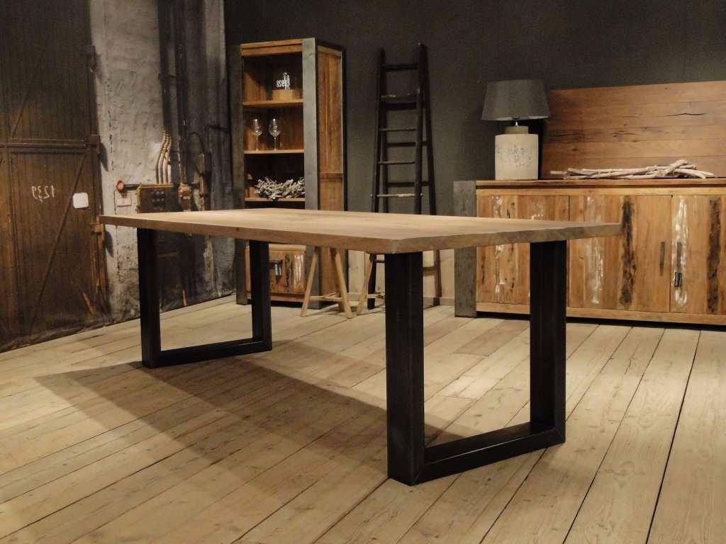 Mesa Cocina Comedor Industrial De Madera Y Hierro 1.5x1