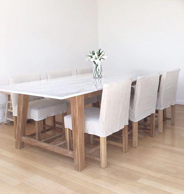 Mesa Cocina Comedor Madera Petiribi Y Marmol De Carrara - $ 45.700 ...