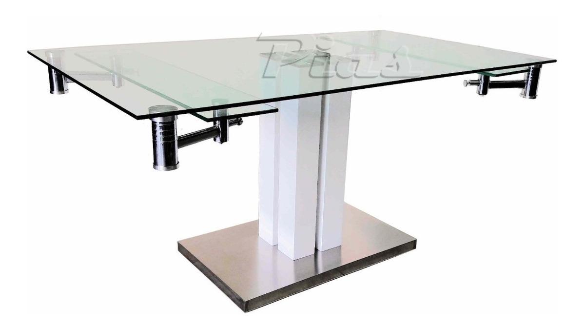 Mesa Cocina Comedor Vidrio Extensible Base Madera Y Acero!! 160 X 90 A 200  X 90 Cm!