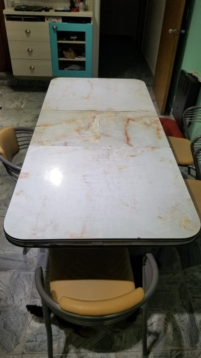 Mesa Cocina Extensible + 6 Sillas (no Plegable) Oferta - $ 7.000,00