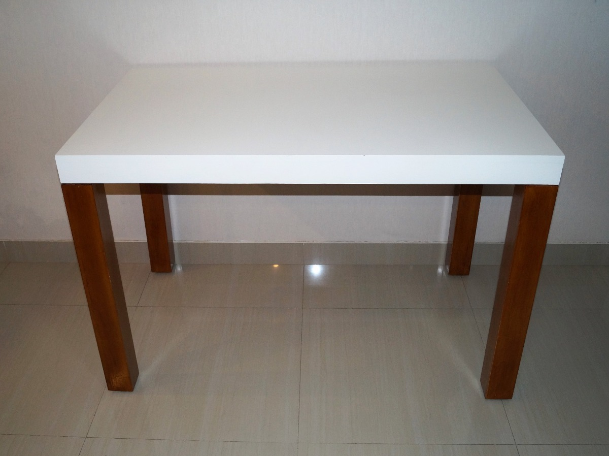 Mesa Cocina Madera Laqueada Moderna Rectangular Blanco Asia ...