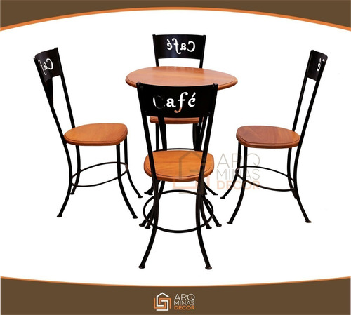 mesa com 4 cadeiras madeira ferro luxuosa