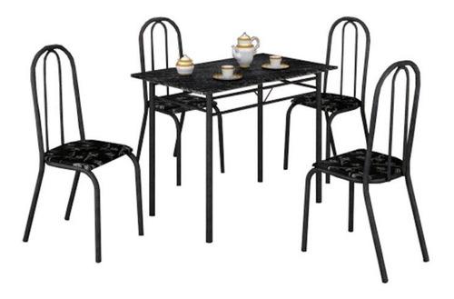mesa com 4 cadeiras para cozinha tubular craqueada preta