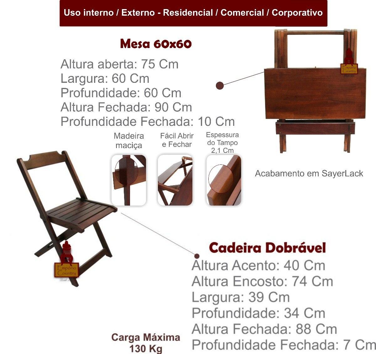 Jogo De Mesa Bar 60x60 Com 2 Cadeiras Dobrável Em Madeira R$ 233 60  #661D14 1200x1128