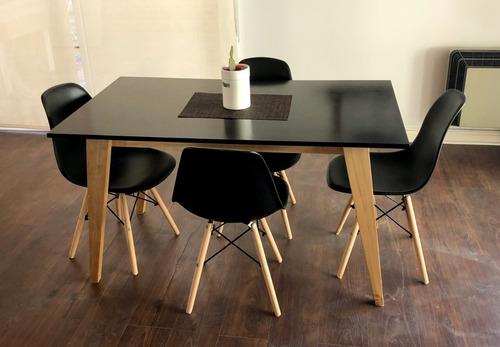 mesa comedor 140 cuotas escandinava nordica madera laqueada vintage tulip eames
