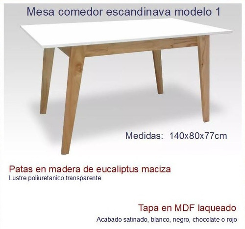 mesa comedor 140 escandinava nordica madera laqueada vintage