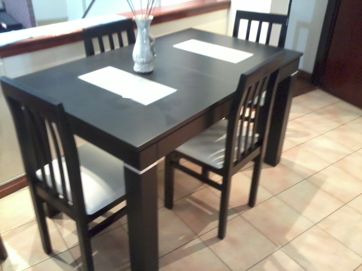 Mesa de comedor wengue extensible for Mesa de comedor 4 sillas