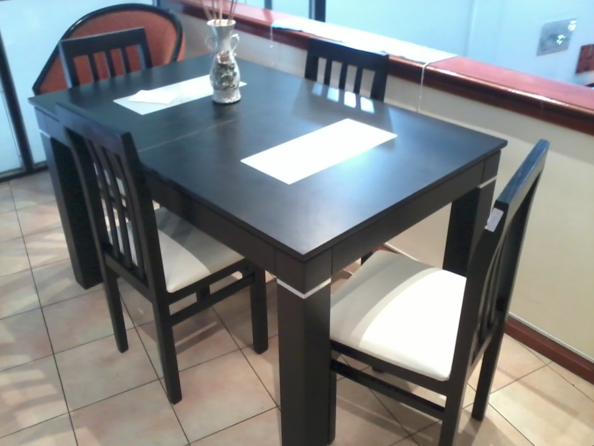 mesa comedor 140x080 extensible wengue duco mas 4 sillas