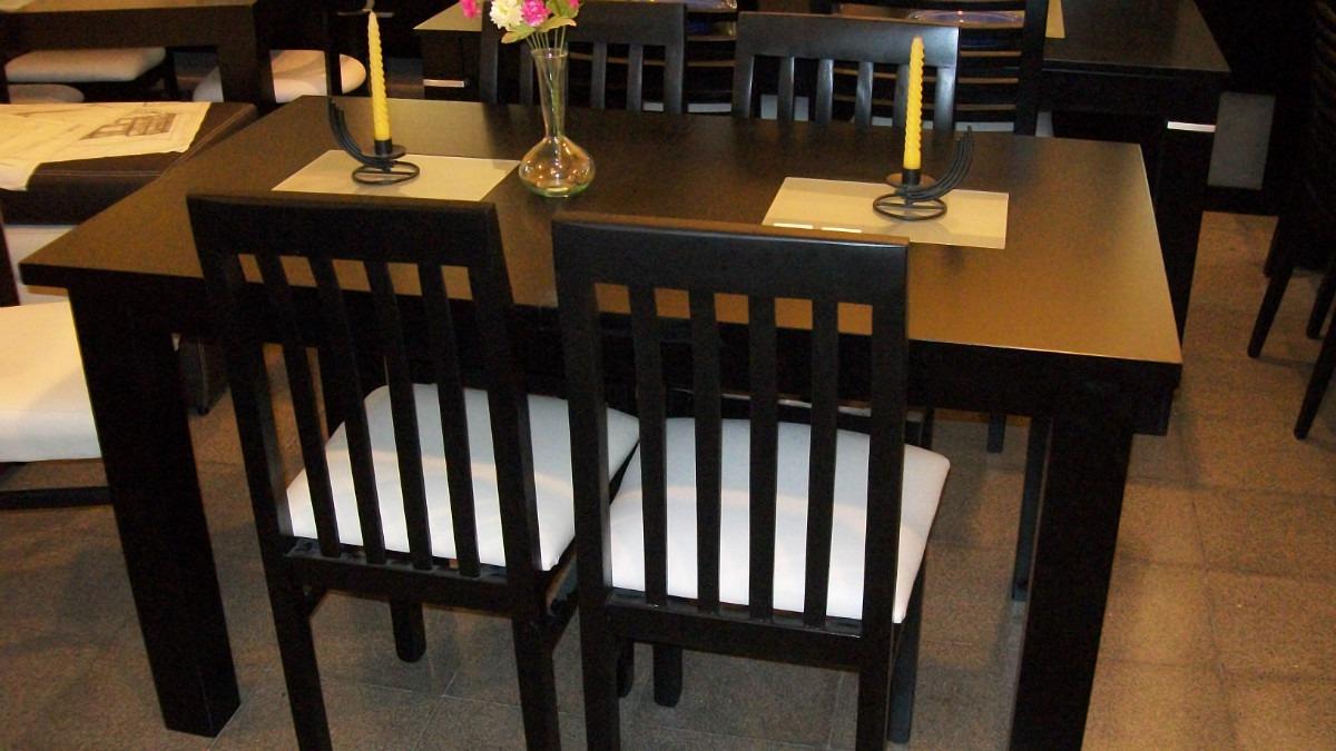 mesa comedor x fija wengue al poliuretano mas sillas