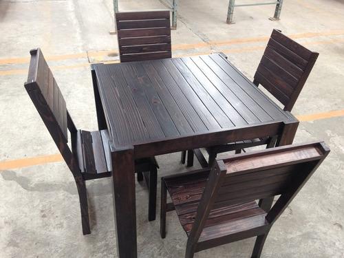 mesa comedor 4 personas madera tarima sustentable