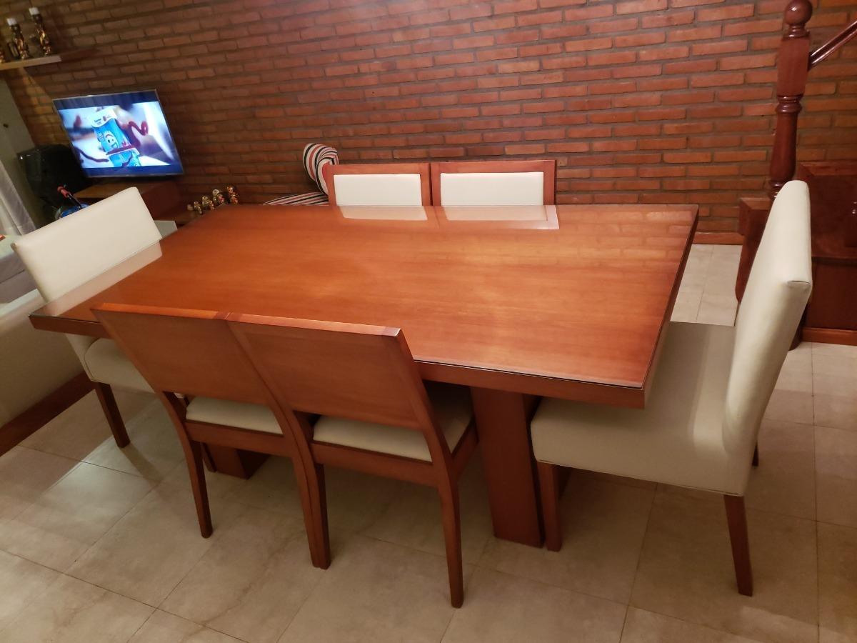 Mesa Comedor + 6 Sillas Madera Masiza Lustre Cerezo - $ 65.000,00
