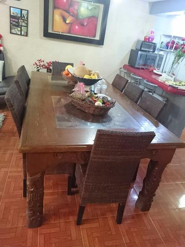 mesa comedor 8 personas de madera tallada