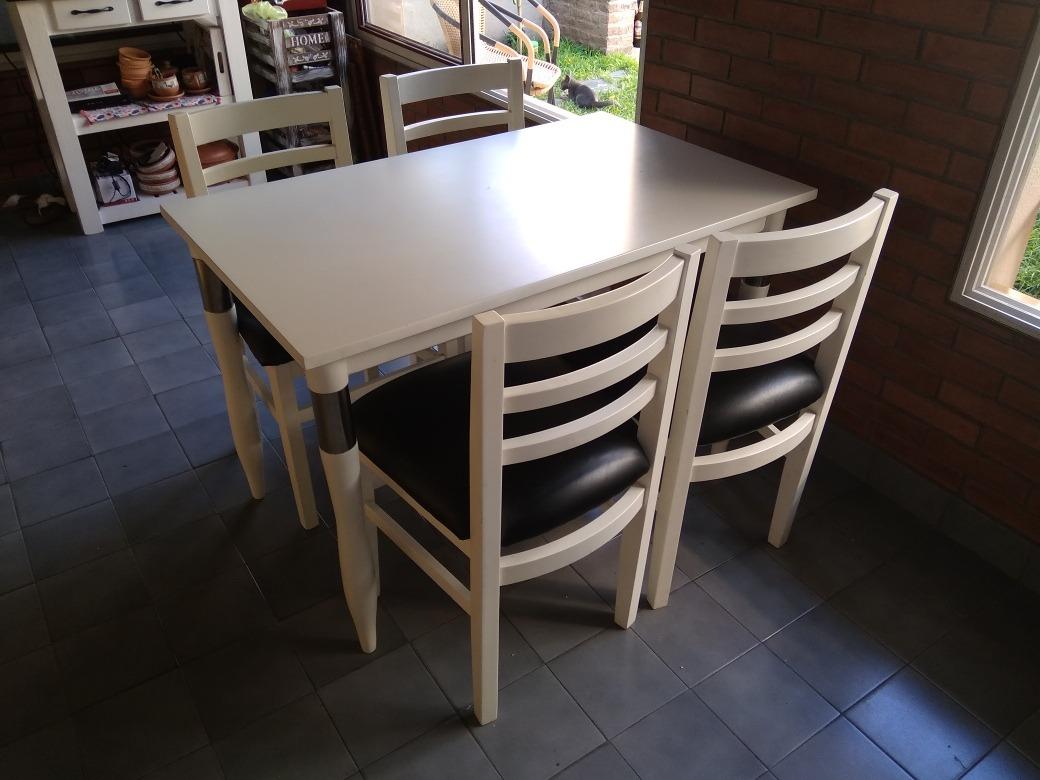Mesa Comedor Blanca Laqueada 115x70 Cm + 4 Sillas Firenze - $ 8.500 ...