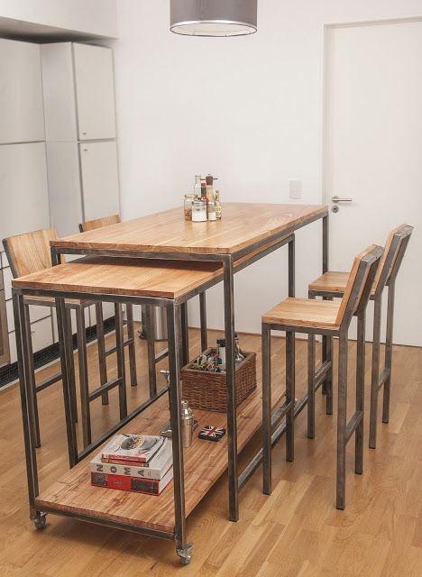 Mesa comedor cocina restaurante metal madera bancos depa - Bancos de comedor ...