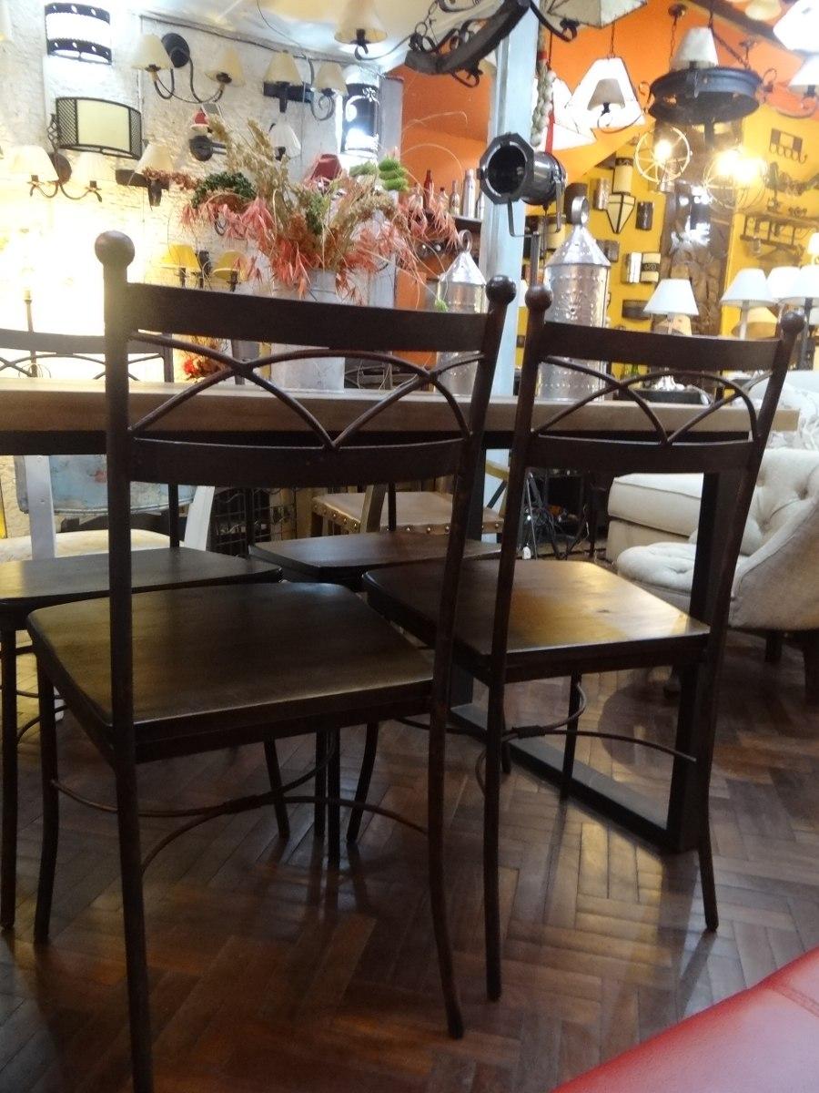 Mesa comedor con 6 sillas asiento madera hierro 26 - Mesa comedor 6 sillas ...
