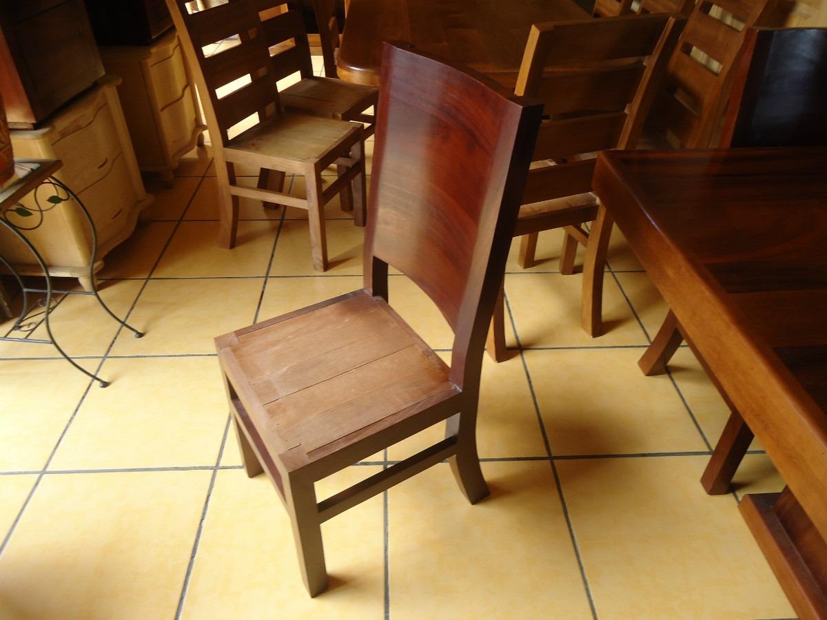 Mesa comedor con 8 sillas madera parota cuadrada for Comedor 8 sillas madera