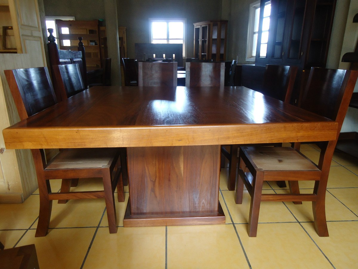 Mesa comedor con 8 sillas madera parota cuadrada for Mesas y sillas de comedor de madera