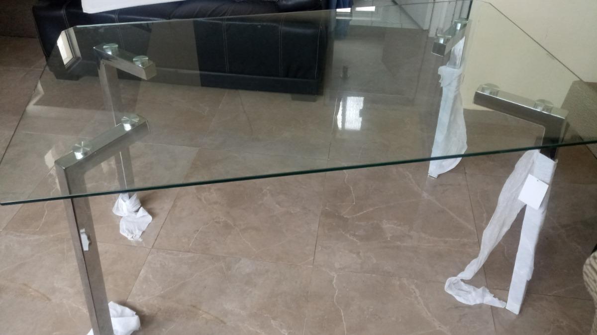 Mesa Comedor Cristal Templado Patas Cromadas Elegante - $ 3,490.00 ...