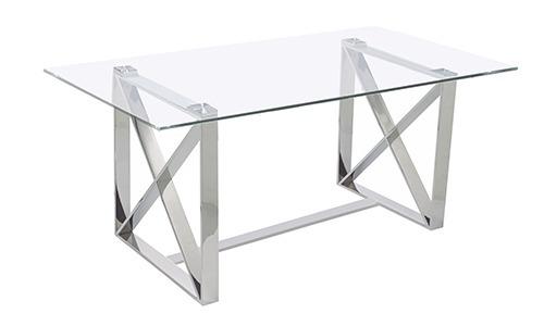 Mesa Comedor Cross - Cristal Y Acero Cromado - $ 10,069.00 en ...