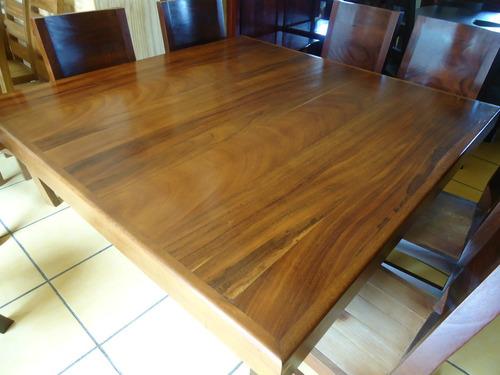 mesa comedor cuadrada con 8 sillas madera parota solida