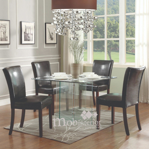 mesa comedor de cristal templado para 4 personas mobinterior