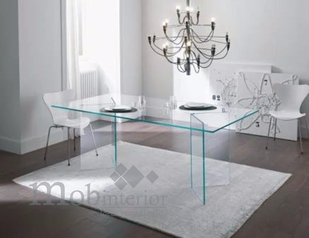 Mesa comedor de cristal templado para 8 personas for Comedor de cristal