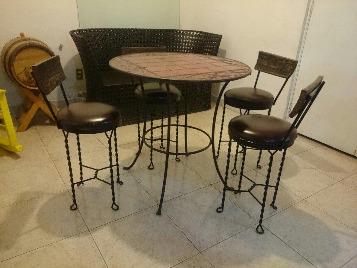 Mesa comedor de forja azulejo y madera 6 en mercado libre - Mesas de comedor de forja ...