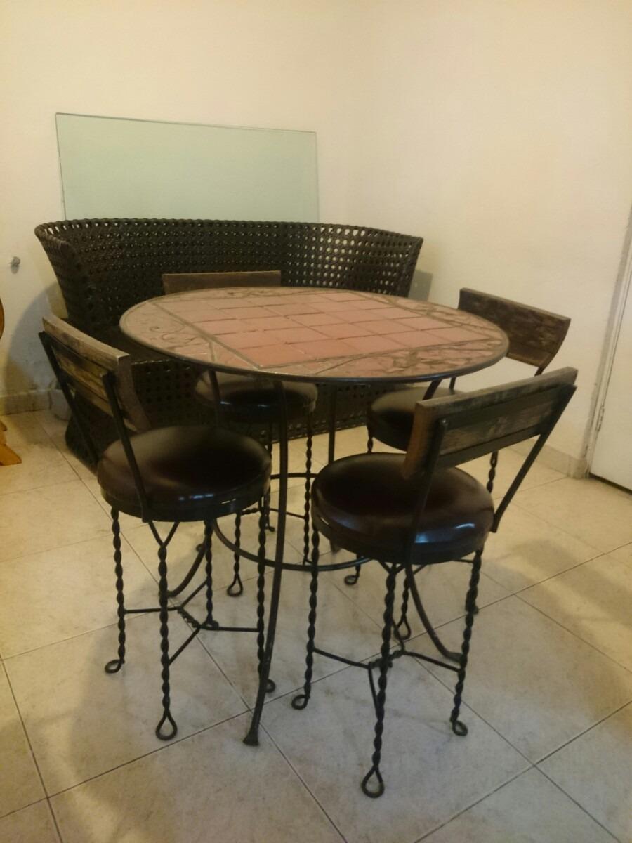 Mesa comedor de forja azulejo y madera 6 en - Mesa de forja ...