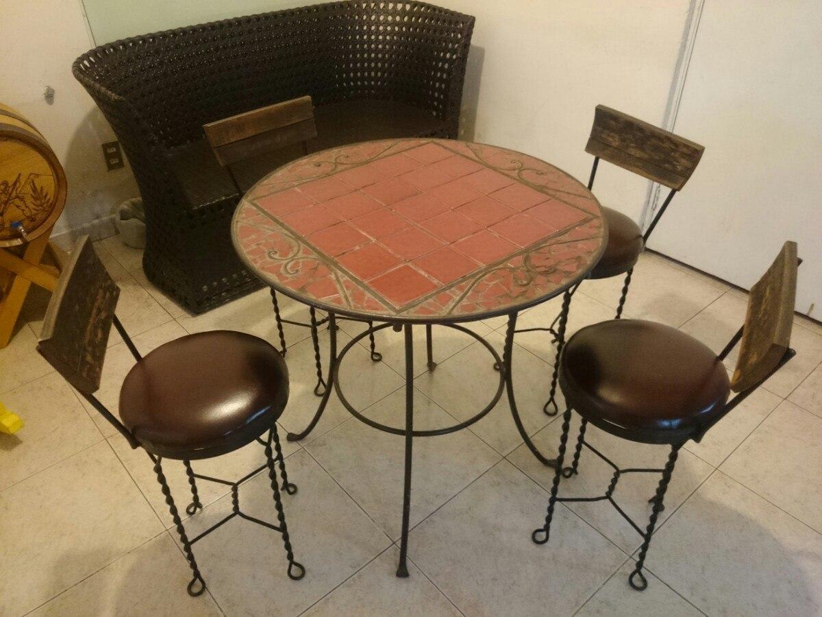 Mesa comedor de forja azulejo y madera 6 en for Mesas de comedor coloniales