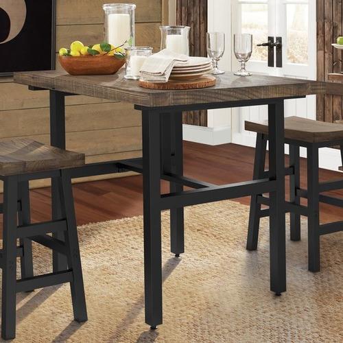 mesa comedor de madera bases de hierro modelo carmona bar