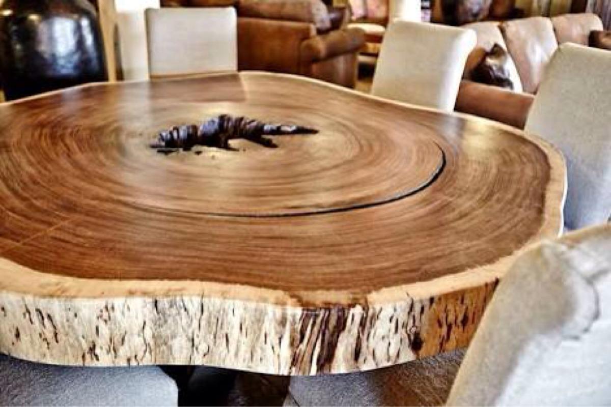 Mesa comedor de madera de parota redondo 22 en for Comedor redondo de madera