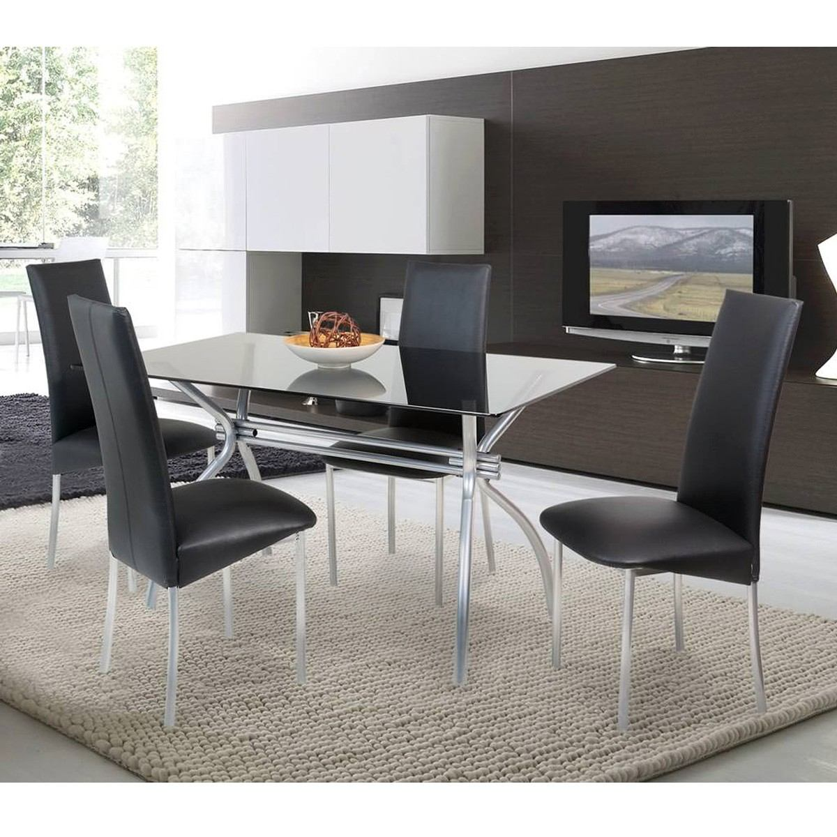Mesa Comedor De Vidrio 1.60x0.80 + 4 Sillas Tap Ecocuero - $ 9.500 ...