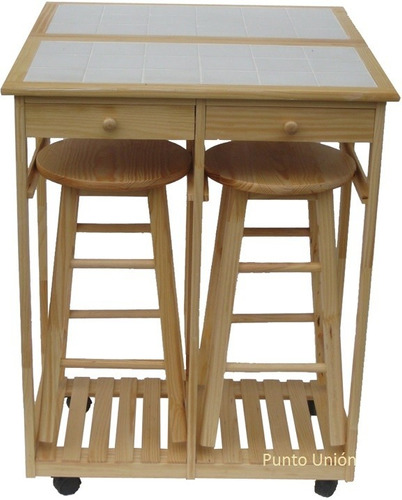 Mesa comedor desayunador dos bancos dos cajones para for Mesa con banco cocina