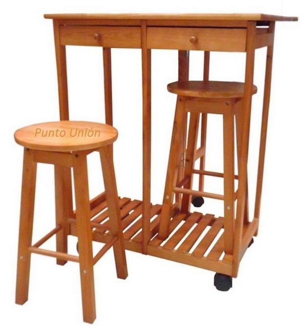 mesa comedor desayunador dos bancos dos cajones para