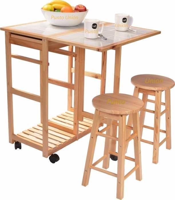 Mesa comedor desayunador dos bancos dos cajones para for Manual para muebles de cocina
