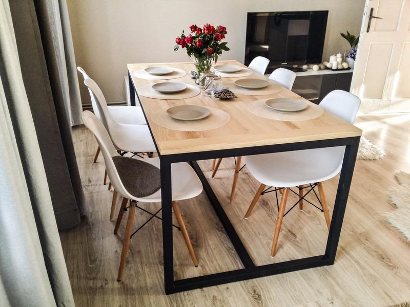 Mesa Comedor Dinning Moderna Minimalista Acero Madera Fact A ...