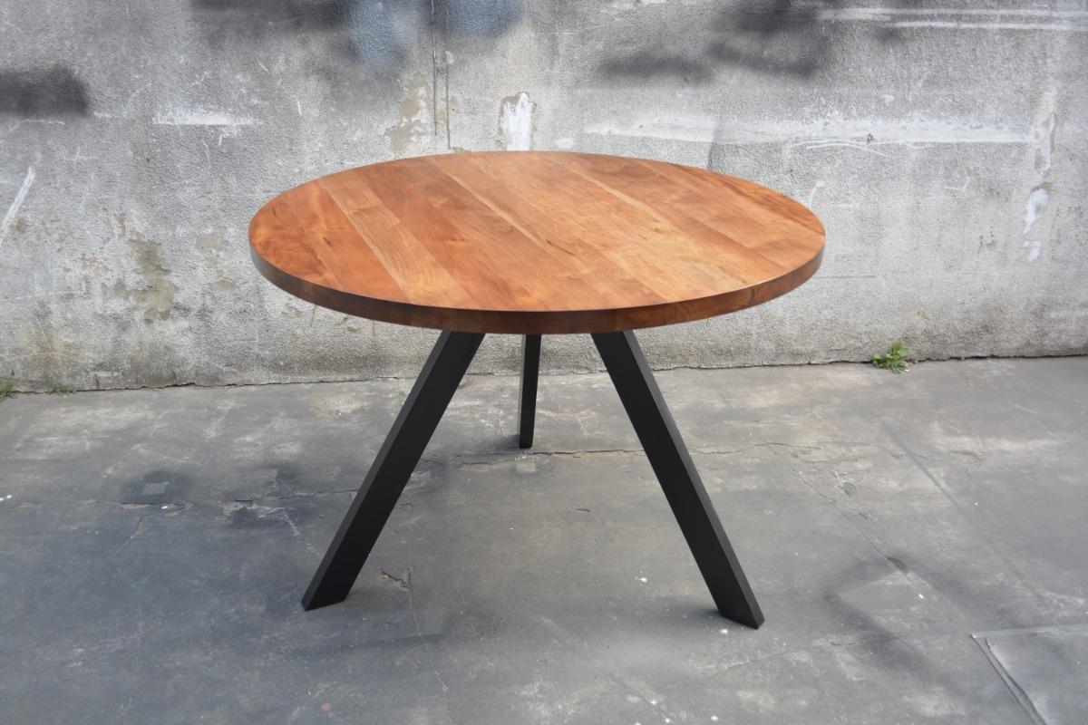 Mesa Comedor Diseño Industrial Redonda Hierro Y Madera 120cm ...