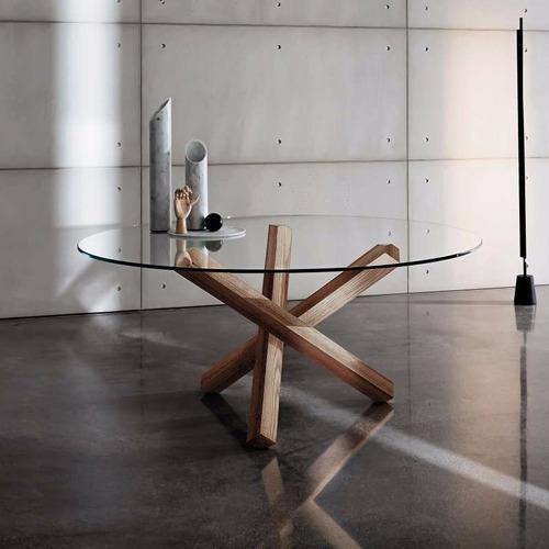 mesa comedor elche circular cubierta cristal 140 cm redonda