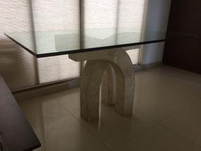 Mesa Comedor En Cristal, Base Marmol, 150x90x2.5cm 6 Persona