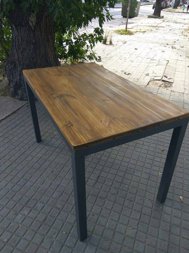Mesa comedor en hierro y madera en mercado libre for Mesa hierro y madera