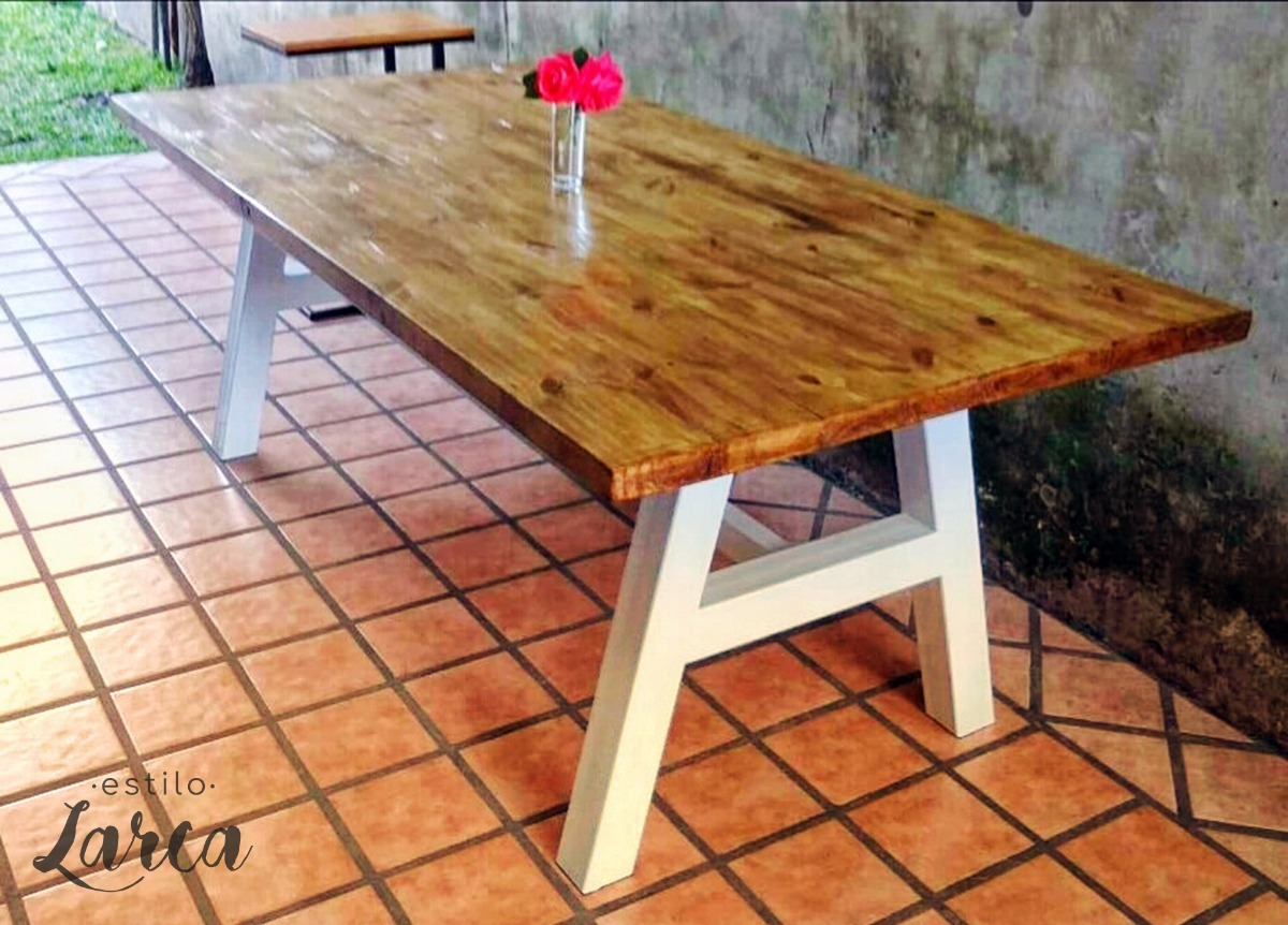Mesa Comedor Estilo Industrial - Hierro Y Madera Rústica - $ 11.900 ...