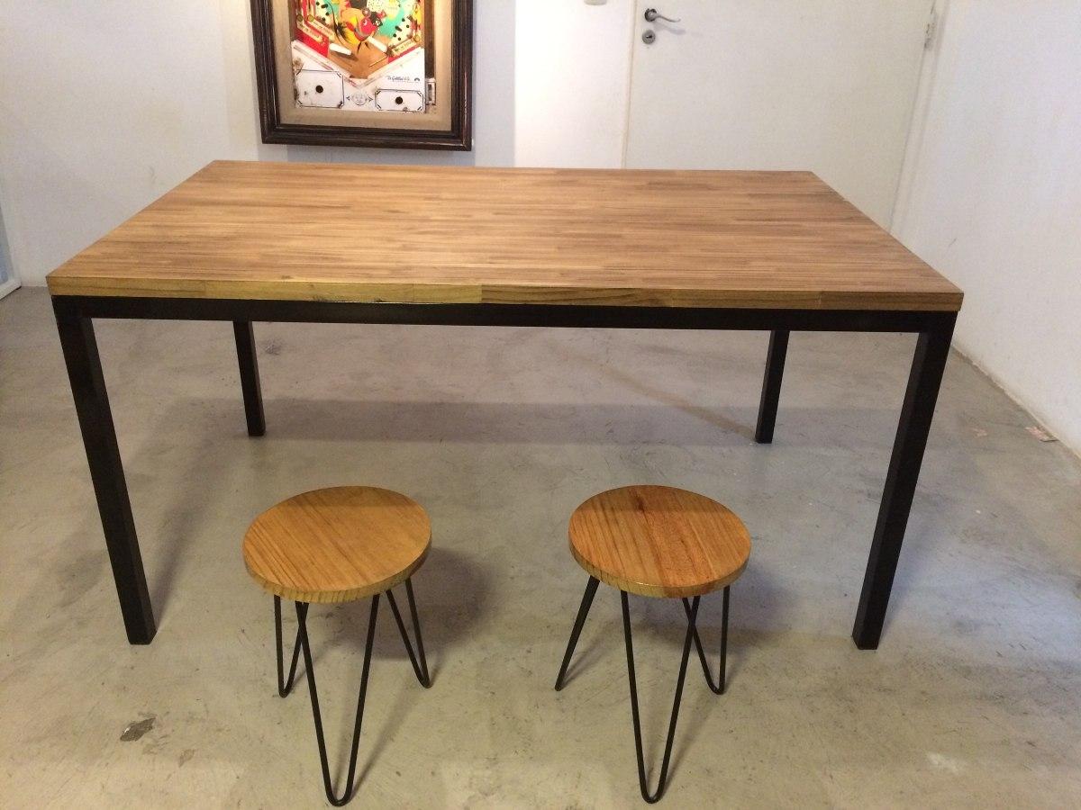 mesa comedor estilo industrial quincho hierro y madera